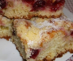 Ciasto z rabarbarem i wiśniami :)